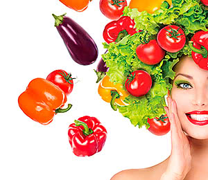 beauty foods girl with vegetables